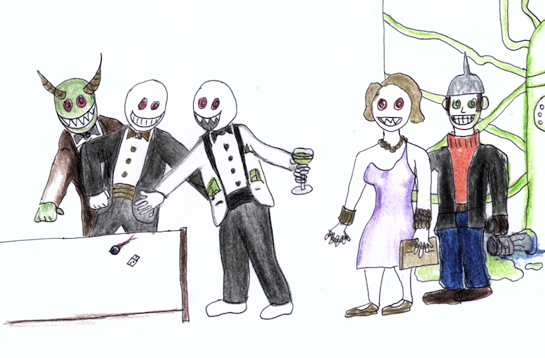 Death Dollar Dealers and a Troll Brother throw dice  at the derivatives casino